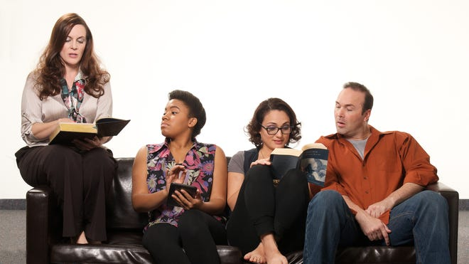 Maren MacLean (from left), Alexis Green, Angelica Howard and Joe Kremer star in the Actors Theatre summer production 'The Book Club Play.'