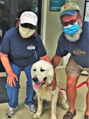 Biz and Eddie Mann adopt their dream dog, Snowflake, from the Aiken County Animal Shelter.