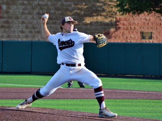Hawley's Quay Stokes throws a pitch during a 2A regional