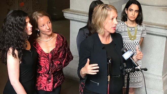 Democratic Attorney General hopeful Zephyr Teachout speaks at an Albany news conference on Monday, July 23, 2018, where victims of harassment called for public hearings.