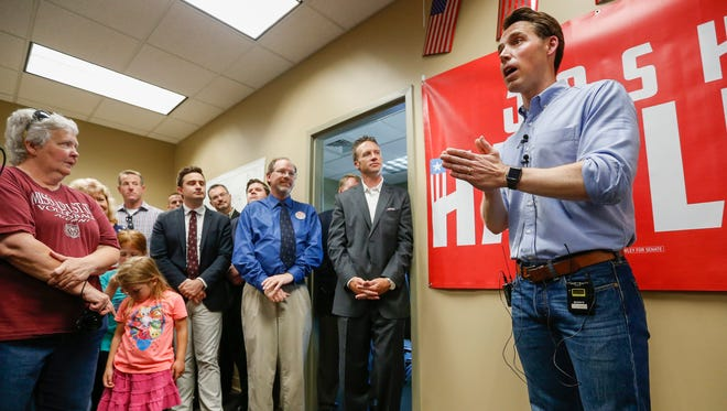 Josh Hawley, Republican candidate for U.S. Senate, talks to supporters at his new campaign office in Springfield on Thursday, June 28, 2018.