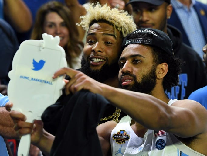 North Carolina guard Joel Berry II (2) takes a selfie