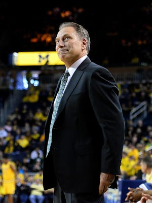 MSU coach Tom Izzo smiles during the Spartans' 89-73 win at Michigan on Feb. 6. That was the only meeting between the two teams last season, but they will play twice in 2016-17.