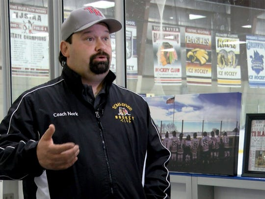 Toms River Blackhawks hockey coach Pete Nork is shown