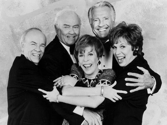 Carol Burnett center with Tim Conway Harvey Korman Lyle Waggoner and Vicki Lawrence--1992 CBS publicity photo.