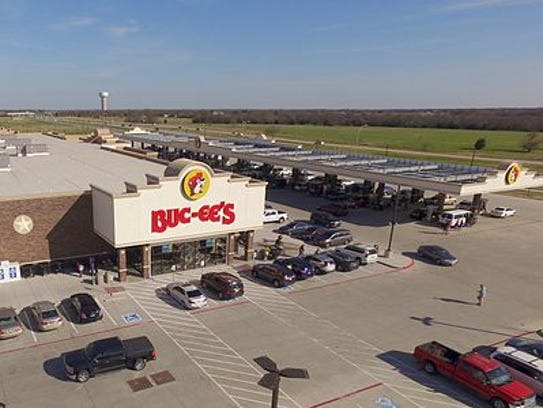 An aerial view of a Buc-ee's location in Terrell, Texas.