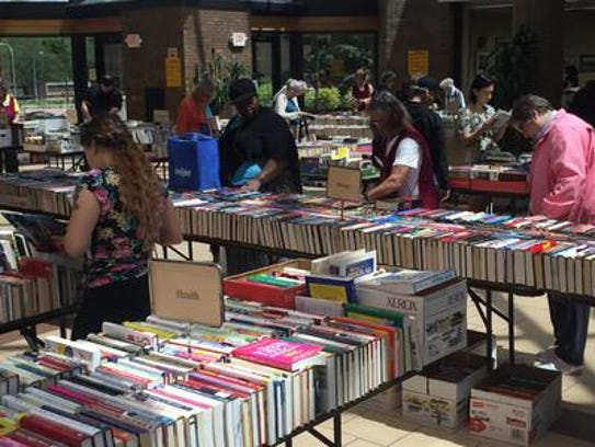 Shoppers browsed the thousands of books available at