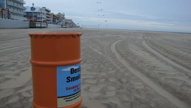 One of 153 designated smoking stations on the beach in Ocean City. Smokers who wish to smoke on the beach can only do so within 15 feet of these receptacles.