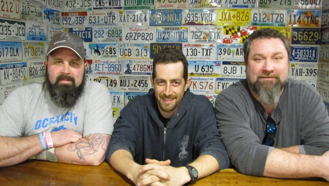 Bearded Men's Society of Ocean City members Robb Dunne, Alex Ottenstein and Dan Woods. The group meets at 7 p.m. the first Thursday of each month at Pizza Tugos in West Ocean City