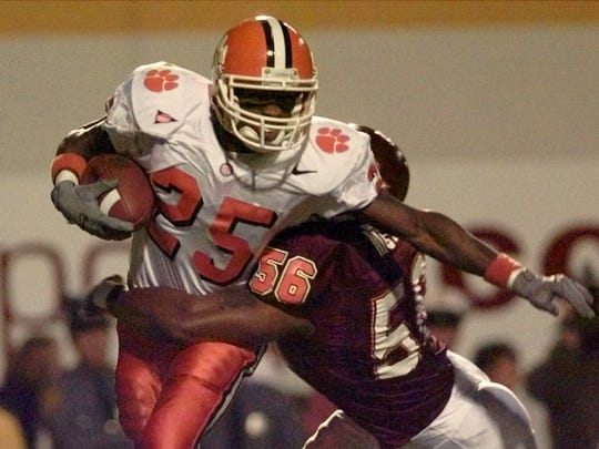 Corey Moore (56) was a stud at Virginia Tech but never made it with the Bills due to his lack of size.