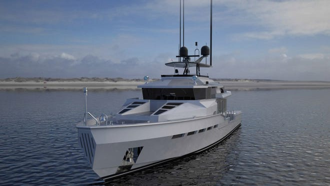 This is an artist's drawing of a pseudo-military yacht being designed by Bill Prince Yacht Design of Port Washington.