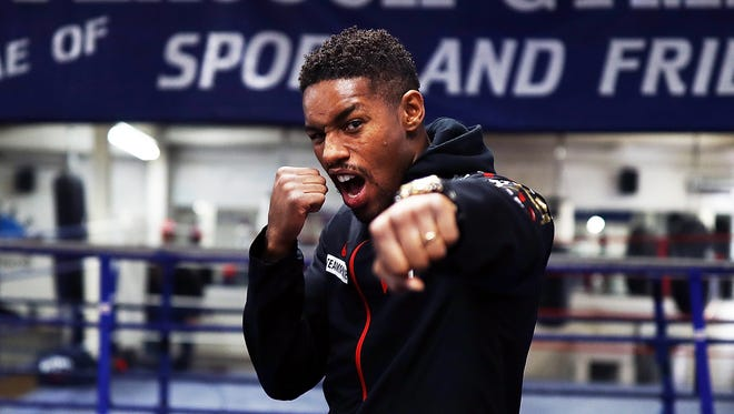 Willie Monroe Jr looks on during a media workout at the Peacock Gym on Sept. 13, 2017 in London, England.