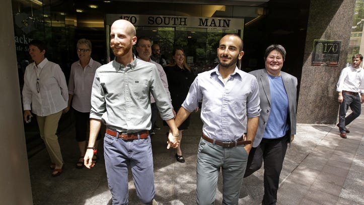 Utah plaintiffs Derek Kitchen and Moudi Sbeity are among three couples fighting to overturn Utah's same-sex marriage ban.