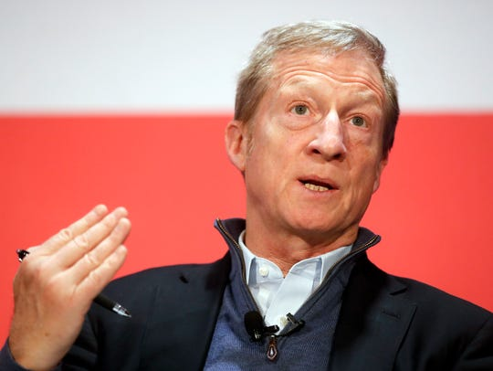 "Political activist Tom Steyer speaks during a ""Need"