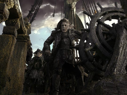 "The villainous Captain Salazar (Javier Bardem) leads a ghostly crew of pirates in search of the Trident of Poseidon in ""Pirates of the Caribbean: Dead Men Tell No Tales."""