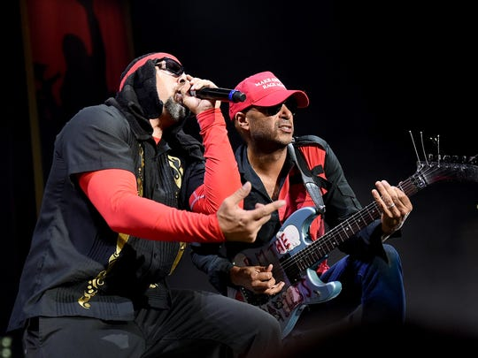 B-Real (left) and Tom Morello are part of Prophets of Rage, pictured in 2016.