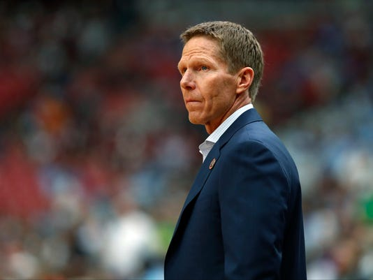 Gonzaga head coach Mark Few arrives on there court before the semifinals of the Final Four NCAA college basketball tournament against South Carolina, Saturday, April 1, 2017, in Glendale, Ariz. (AP Photo/Charlie Neibergall)