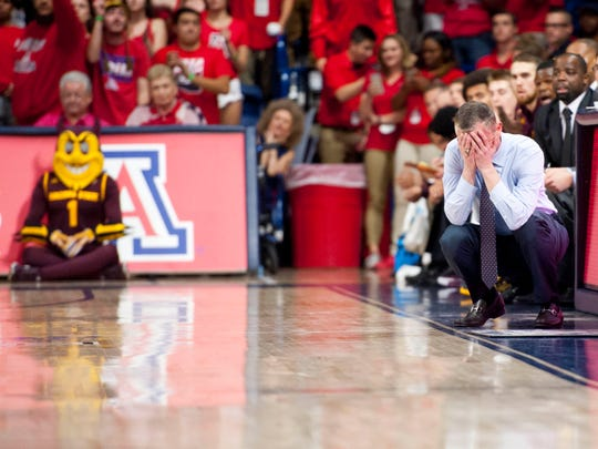Arizona State coach Bobby Hurley reacts during the