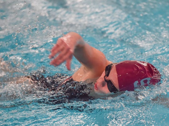 Shippensburg Teddi Powell swims the 500-yard free during a swim meet in Shippensburg, Pa. on Thursday, Dec. 18, 2015. Powell won,  her final time 5:58.64.