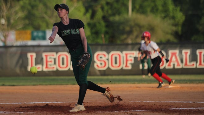 Lincoln pitcher Kelsie Rivers throws during a game against Leon.