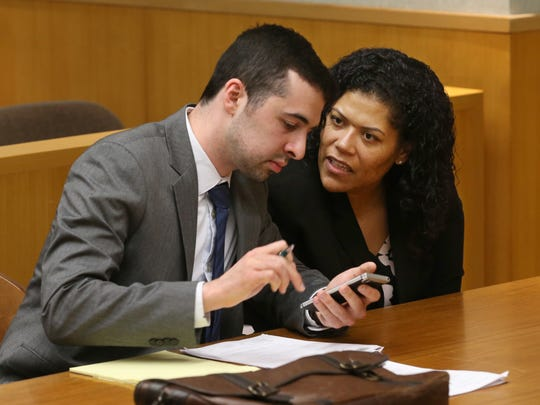 Judge Leticia Astacio with her attorney Mark Foti were