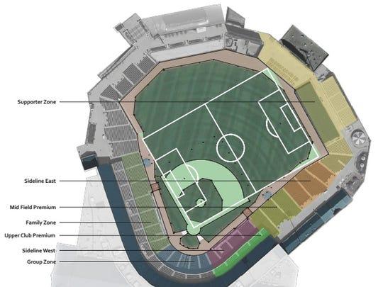 Slugger Field's soccer configuration.