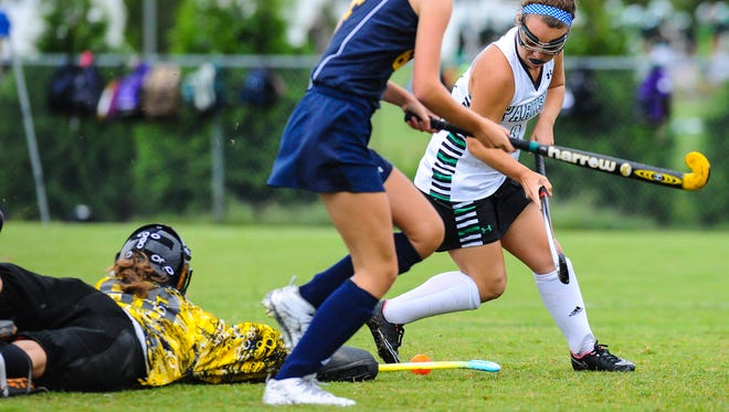 Parkside's Madison Twiford breaks past the Kent County goalie for the Ram's lone goal on Wednesday afternoon at home.