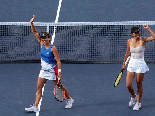Su-Wei Hsieh of Taiwan and Barbora Strycove of the Czech Republic are this years winner of the BNP Paribas Open womens doubles title after they beat the Russian pair of Ekaterina Makarova and Elena Vesnina on Saturday, March 17, 2018 in Indian Wells.