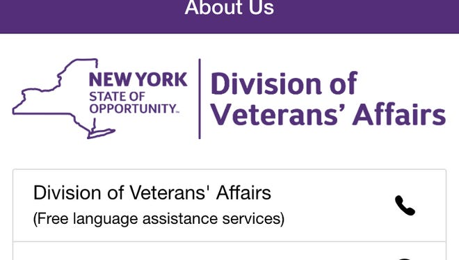 A screengrab from the NYS Veterans app, which the state launched late last month.