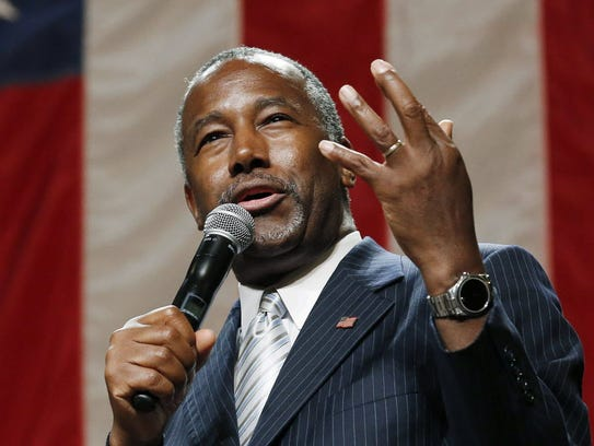 Republican presidential candidate Ben Carson campaigns
