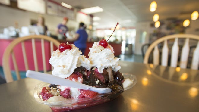 A banana split awaits a customer at Walrus Ice Cream in Old Town. The shop, founded in 1987, serves ice cream made at their location on W. Mountain Ave.
