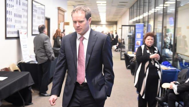 Jeremy Durham leaves a caucus meeting at Legislative Plaza on Jan. 27.