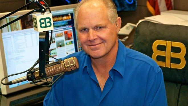 2009: Rush Limbaugh in his Palm Beach radio studio.