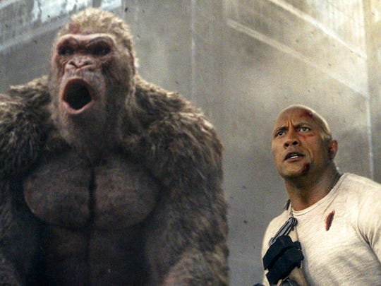 "Dwayne Johnson stars in ""Rampage,"" playing at Regal"