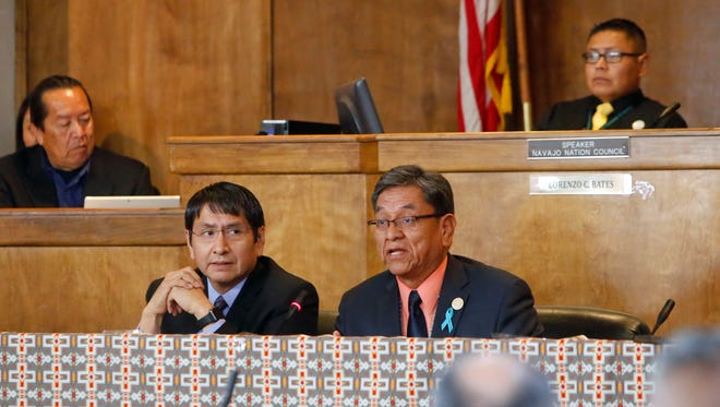 Navajo Nation President Russell Begaye, right, and Vice President Jonathan Nez present the State of the Nation address to the tribal council on April 18 at the start of the spring session in Window Rock, Ariz.