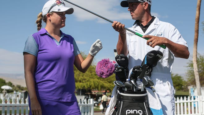 LPGA golfer Jackie Stoelting with Travis Stoelting her caddie and husband on Friday, March 31, 2017 during the ANA Inspiration at Mission Hills Country Club in Rancho Mirage.