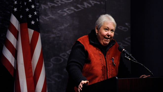 Rep. Patricia Todd speaks after being presented the Billy Jack Gaither Humanitarian Award during the Vigil for Victims of Hate and Violence Civil Rights Memorial Center in Montgomery, Ala. on Sunday February 15, 2015.