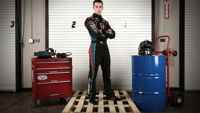 Ben Rhodes poses during the NASCAR Touring Champions Media Event & Portraits at GoPro Motorplex on December 10, 2014 in Mooresville, North Carolina.