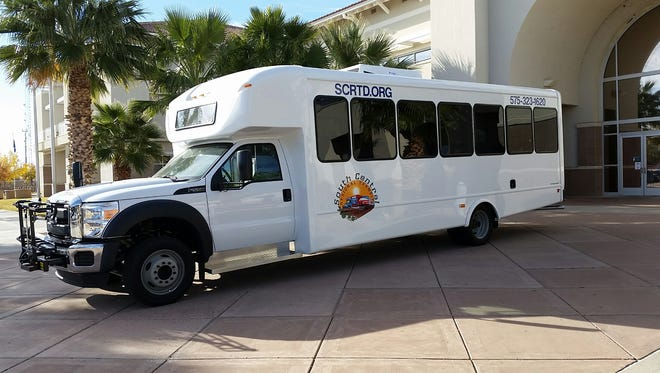 The South Central Regional Transit District is reviving county bus service. In its fleet is a 28-passenger bus on display recently in front of the Doña Ana County Government building.
