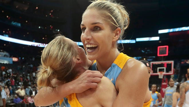 Chicago Sky guard/forward Elena Delle Donne, right, and guard Allie Quigley celebrate after defeating the Atlanta Dream.