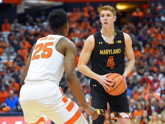 Maryland's Kevin Huerter controls the ball in front