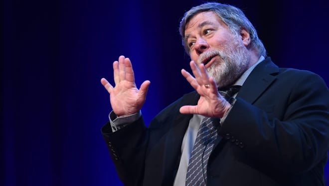 Steve Wozniak, co-founder of Apple, delivers a speech at the World Business Forum (WBF) in Sydney, Australia.