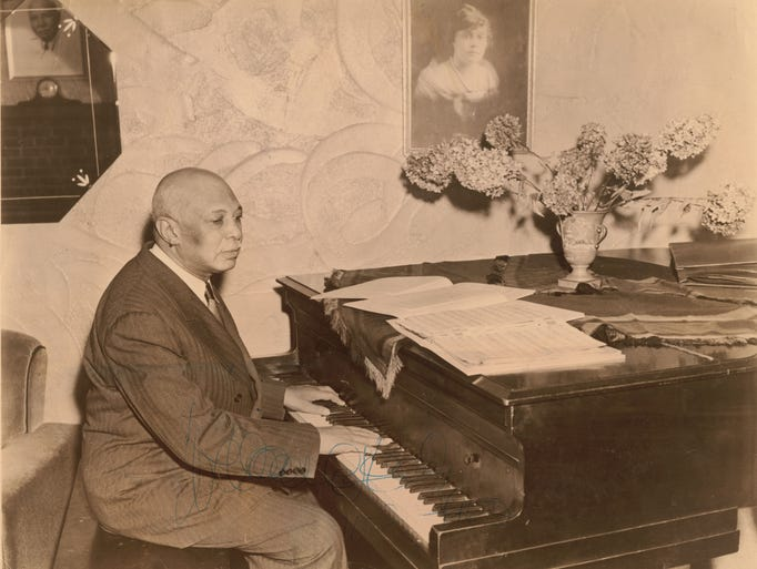 W.C. Handy at Piano. (Henderson County Public Library)
