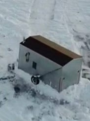 An aerial view of the shanty reported stolen to the