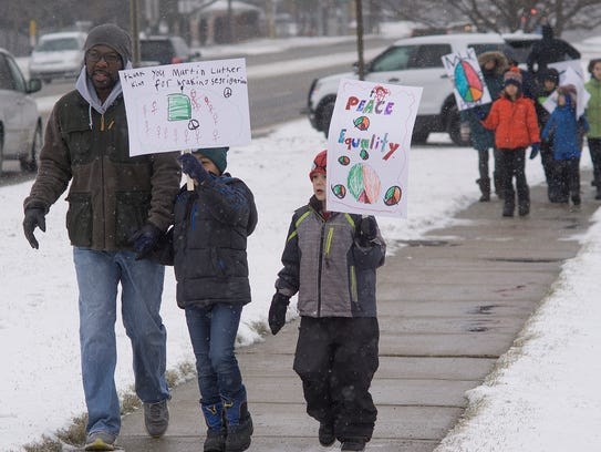 Marching down Twelve Mile in 20 degree temperatures.