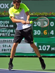 Taylor Fritz, an American high school student from the San Diego area, at the 2015 the BNP Paribas Open.