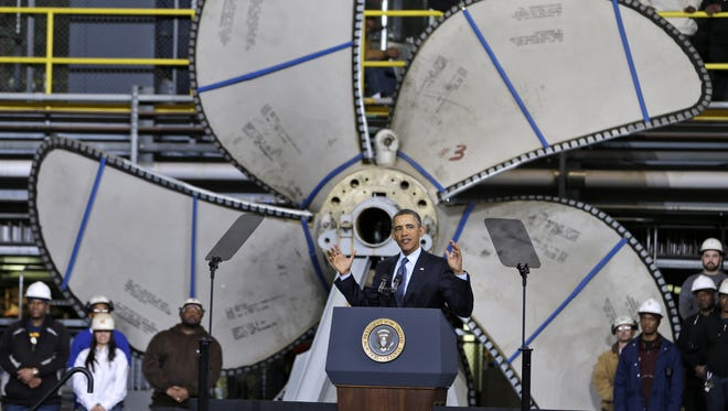 President Barack Obama visited Newport News Shipbuilding in Virginia in 2013 to discuss the military defense budget.