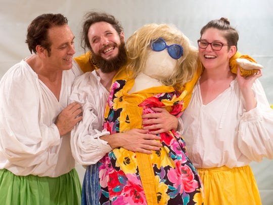 """From left, Joe Casterline, Caleb Burnham, and Laura Beth Well are performing in the Tennessee Stage Company's production of """"The Complete Works of William Shakespeare - Abridged"""" for Shakespeare on the Square."""