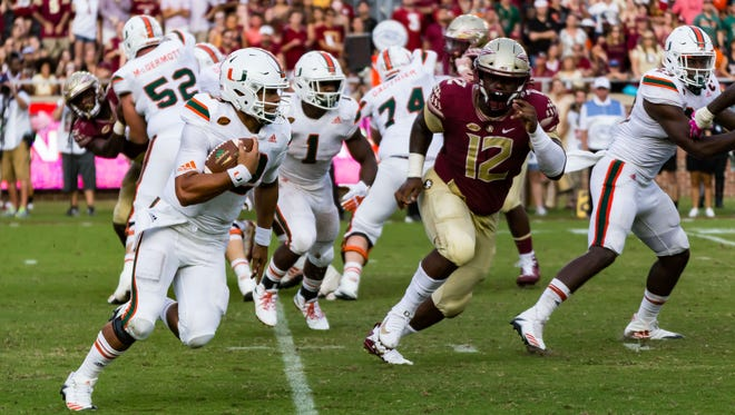 Miami redshirt junior quarterback Malik Rosier led the Hurricanes down the field for a game-winning touchdown drive to clinch a 24-20 victory over Florida State at Doak Campbell Stadium.