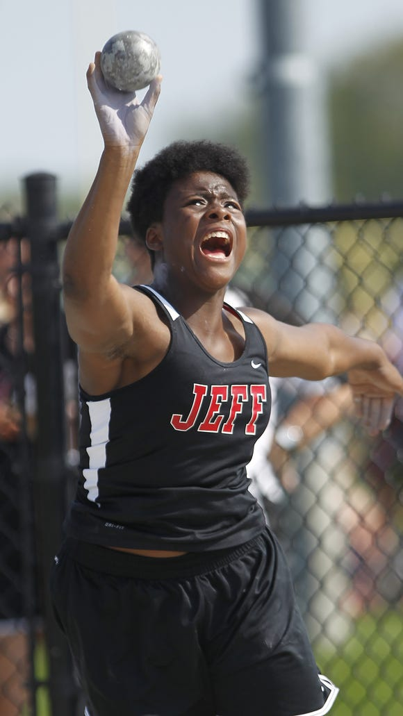 "Essence Henderson of Lafayette Jeff competes in the shot put during the City County Track Meet Tuesday, May 5, 2015, at Lafayette Jeff High School. Henderson took third place with a 36' 2 1/2"" effort."